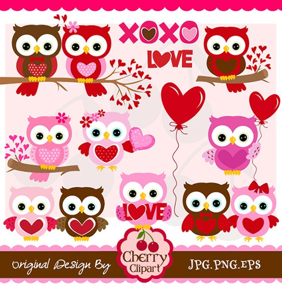 Valentines Day Sweet Owls digital clipart setPersonal – Owl Valentines Day Cards