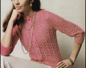 "No.241 Knitting Pattern Vintage PDF For Women - Rose Lace Cardigan - Finished Bust Sizes 35 1/2"", 40 3/4"", 45"" - Instant Download"
