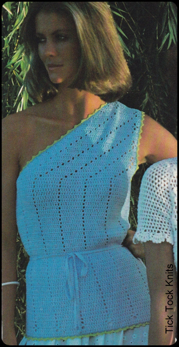"No.211 PDF Vintage Crochet Pattern Women's One-Shoulder Top Picot Stitch Edging - Retro Crochet Pattern - Instant Download - 32"", 34"", 36"""