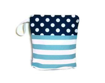 Aqua blue strip navy blue dot wet bag 10x12 waterproof  cloth diaper zipper medium swim bathing suit pool beach girl wetbag