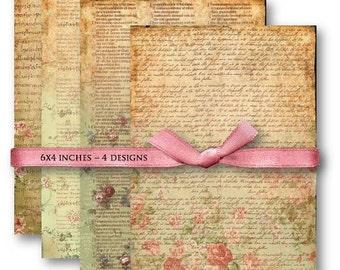 Vintage Letters Digital Collage Sheet Download -589- Digital Paper - Instant Download Printables
