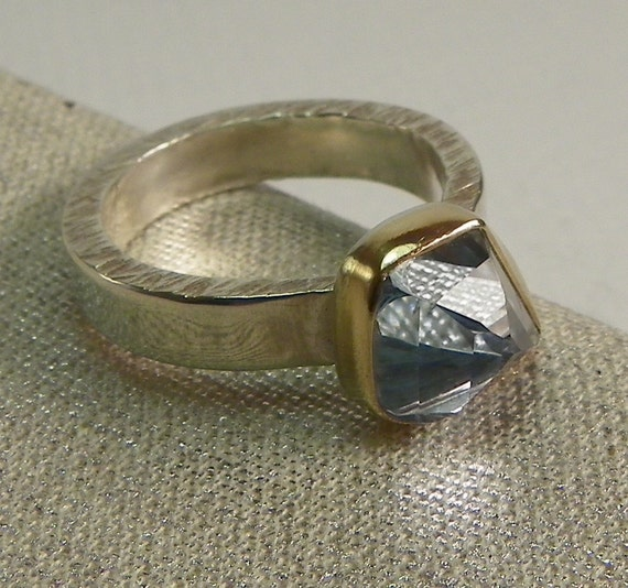 Reserved for Mary, 1st Installment- Aquamarine Ring Geometric Cut 14k Gold  and Sterling Silver