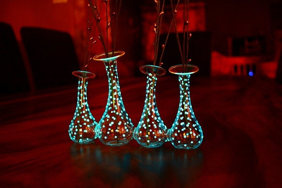 "4 small VASES ""GLOW in the DARK ""little dots"