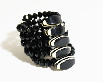 Vintage Cuff Bracelet 1950s Handmade Assemblage Jet Black Ivory Bakelite Buttons Contemporary Chinese Crystal Beaded