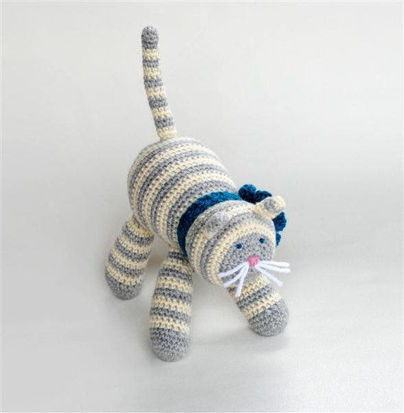 Crochet Cat, Wool Plush Toy, Gray Cream Stripe Stuffed Animal, Gift for Boy or Girl