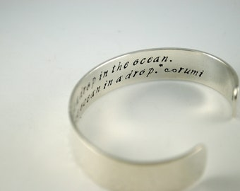Keepsake Sterling Silver You Are the Entire Ocean in a Drop Rumi Secret Message Cuff