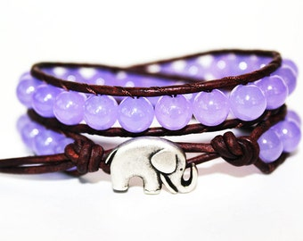 elephant wrap bracelet - elephant lucky jewelry - leather beaded wrap 2x - elephant bracelet
