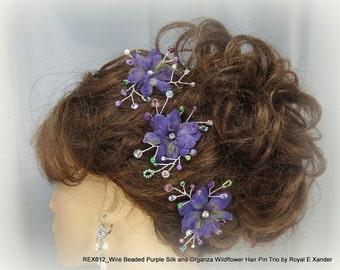 Purple Flower Pins, Set of 3, Mini Flower Pins, Flower Hair Pins, Wedding Accessory