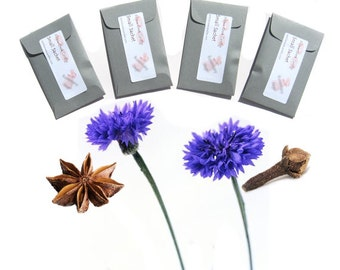 Scented Sachets New Home Gift Housewarming in Grey Hearth Sweet Hearth Spiced Floral Fragrance Easy to Personalize Yourself DIY Set of 4