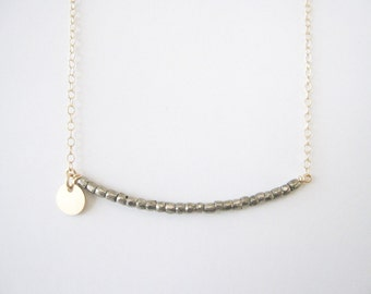 necklace // customized stamped letter or number on delicate 14k gold filled chain with bronze beads