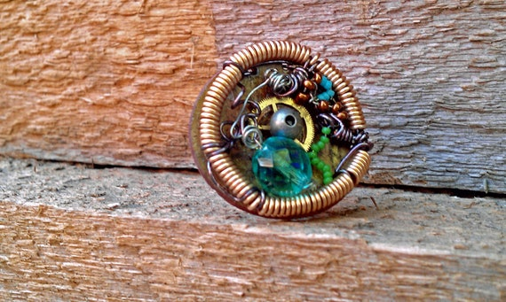 Clearance: Steampunk Victorian Bedazzled Conductor Beaded Ring