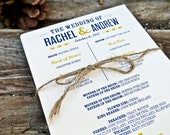 Rustic Wedding Program: Navy and Mustard Yellow - WideEyesDesign