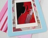 Red Violin Photo Greeting Card - Photo Note Card - Metallic Photo - Still Life Photo - Music Teachers Gift - Blank Note Card