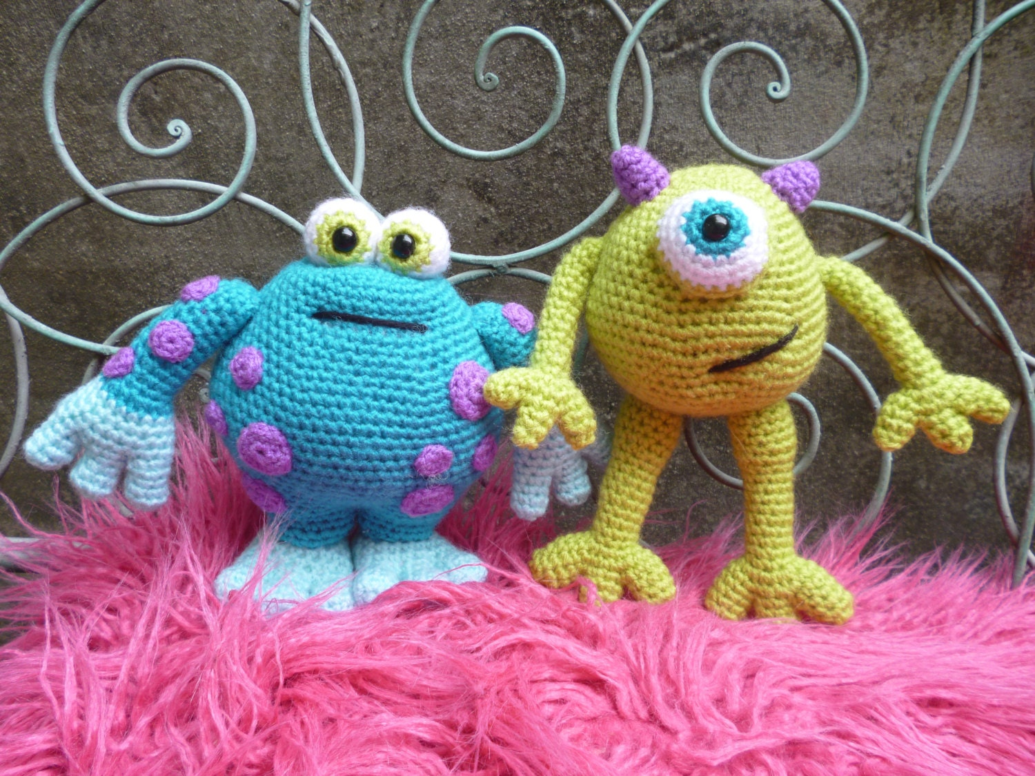 Amigurumi Monsters Inc : Scary Gary and Horrid Harry Amigurumi Monsters Pattern.