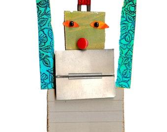 robot 2, cut paper robot, mixed media robot, print