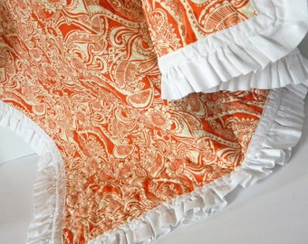 Quilted blanket Orange Paisley and Ruffle Baby Girl