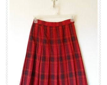 Tartan Plaid Wood Pleated Skirt Womens Size 10