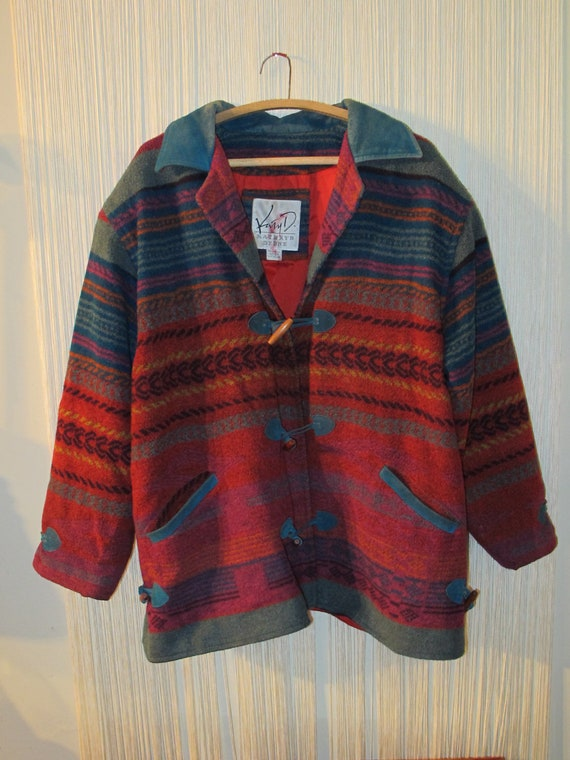 Vintage Southwestern Wool Coat Xl Xxl Indian Blanket Sweater