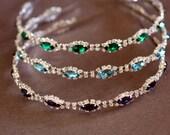 Bridal Headband, bridal hairpiece, Tiara , Hair accessories,  Crystal flower,Rhinestone Bridal Headband, montana blue, emerald, saphire