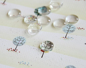 5 pcs Clear Round Glass Cabochons 10 mm