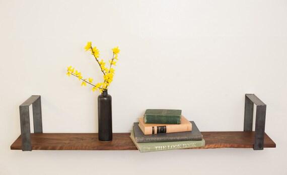 Shelf Walnut and Steel Simple Wall Mount Shelf - Dylan Design Co.