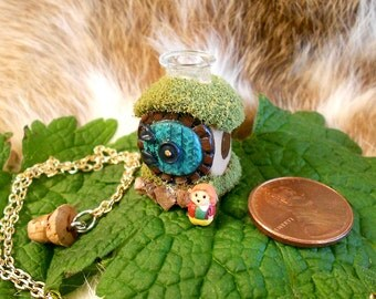 Hobbit Hole Necklace with tiny Bilbo inside (Square Bottle Base)