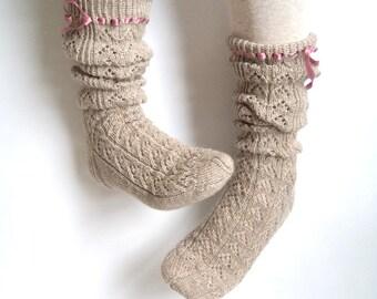 Boot socks. Knee high socks. Leg warmers. Hand knit socks. Lace socks. Wool socks. Gift for her. Christmas gift. Bed socks. Boudoir socks.