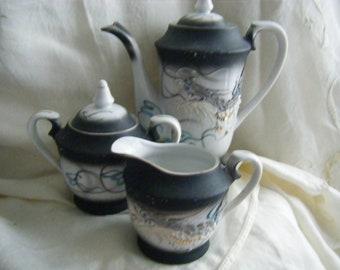 VINTAGE Asian Dragon Teapot Set