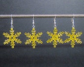 Yellow snowflake earrings with silver plated ear wires