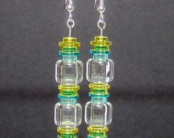 Blue, yellow, and clear earrings with stainless steel or silver plated ear wires