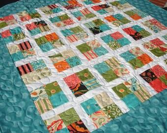 Modern Lap Baby Quilt Blanket - Teal, White, Orange, Olive Green - Wheelchair Quilt