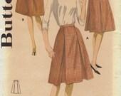 Butterick Vintage 60s Sewing Pattern Pleated Skirt High Waist Paneled Skirt Waistband Retro Fit Full Skirt Uncut FF Waist 25 Hip 34