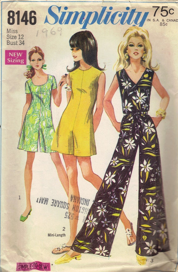 Simplicity 60s Sewing Pattern Jumpsuit Pantdress Jumper Romper One Piece Shorts Pants Sleeveless Top V Neck Play Suit Disco Bust 34
