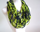 Lime Green Navy Blue Infinity Scarf Upcycled Clothing Fall Fashion Chartreuse Striped Winter Accessories Cowl Boho Tribal