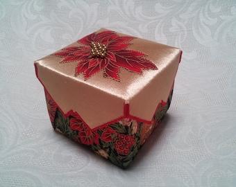Christmas Box, Metallic Gold and Poinsettia Fabric