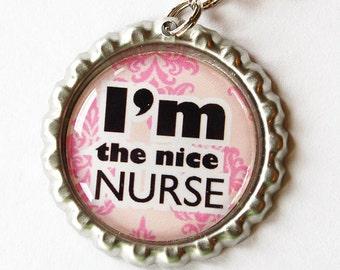 Nurse, Nurse charm, Nurse Zipper charm, backpack zipper pull, zipper pull, purse charm, Nurses week, Gift for Nurse, Pink, nice nurse