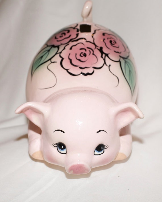 Adorable Vintage Pink Piggy Bank Ceramic Pig With Flowers 8
