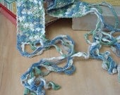 Crocheted Egyptian Cotton Headband Wrap Bracelet or Collar in Waves Pattern Handcrafted OOAK One of a Kind Variegated Soft Blue Green Cream