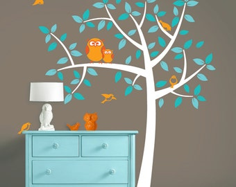 Owl Nursery Tree - Mommy and Baby Owls Art - Nursery Vinyl Wall Decals