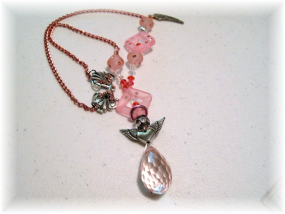Pink Angel Rear View Mirror Charm, Sun catcher, Swarovski crystals