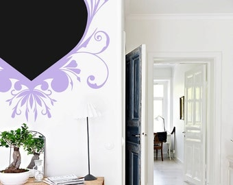"Heart Chalkboard Vinyl Wall Decal, 24"" X 24"" Heart Message Black Board, Girls Room And Home Decoration, Available In Smaller Size - ID405a"