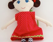 Handmade Cloth Doll Brown Hair and blue eyes with removable dress My Gigi Doll