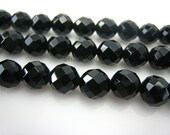 high quality Black Onyx faceted round 8mm 15 inch strand