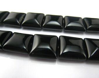 high quality Black Onyx puffy square 12mm 15 inch strand
