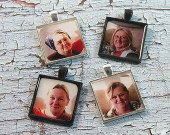 Customized Photo Pendant Ready for Chain or Key Fob, Personalized Jewelry of Family or Favorite Pet, 25mm Pendant in Silver/Bronze/Copper