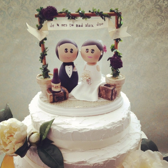 Custom Rustic Vintage Winery Wedding Cake Topper Base By