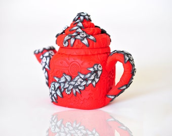 50% OFF SALE! Polymer Clay Teapot 3D Red with Black and White flowers and leaves - upcycled