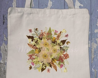 Canvas bag with Pressed Flower Art, Queen Anns Lace, Leaf Squares, Fall Tree, Anemone Bouquet, Pansy Wreath