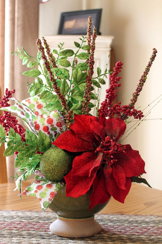 Items similar to christmas centerpiece glittery red