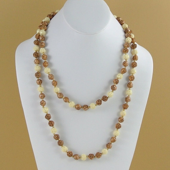 Vintage Celluloid Bead Necklace Rose Jewelry By